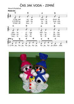 ČAS JAK VODA - ZIMNÍ Kids Songs, Ukulele, Advent, Piano, Sheet Music, Musica, Nursery Songs, Pianos