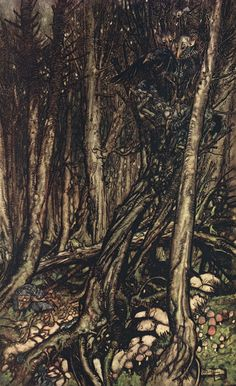 At the back of the little tongue of land, there lay a fearsome forest right perilous to traverse - Undine by de la Motte Fouqué, 1909