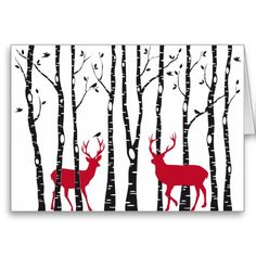 Red deers in birch tree forest cards by Illustree