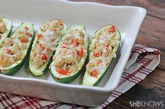 Zucchini chicken quinoa boats