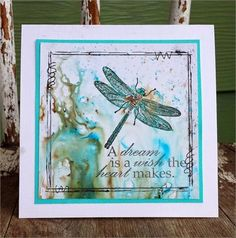 Dragonfly Dream from I Brake For Stamps. Handmade card using Bister Stains