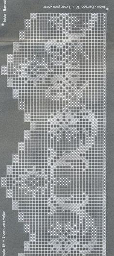 Thread crochet magazines to re Filet Crochet, Crochet Cross, Crochet Diagram, Thread Crochet, Crochet Trim, Crochet Lace, Crochet Stitches, Crochet Curtains, Crochet Doilies