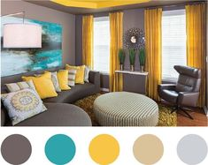 For a color scheme of grey yellow and blue. Here's something to consider ...add a little dash of beauty by wall hanging and yo good to go