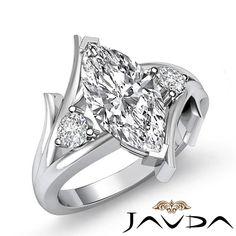 Marquise Cut Diamond 3 Stone Designer Engagement Ring GIA I SI1 Platinum 1 2 Ct   eBay