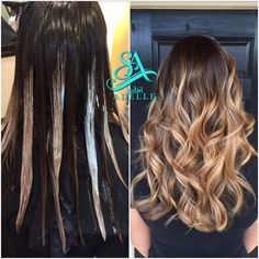 Hair painting. Blonde with stretched root for fall hair. Greenville hair salon. Balayage in Greenville