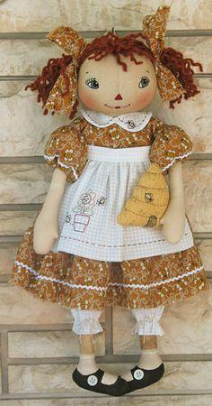Lil' Honey!-cloth doll pattern,raggedy ann doll, primitive doll, hand ...