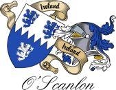 O'scanlon Irish Sept Coat of Arms from the website  www.4crests.com #coatofarms #familycrest #familycrests #coatsofarms #heraldry #family #genealogy #familyreunion #names #history #medieval #codeofarms #familyshield #shield #crest #clan #badge #tattoo