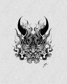 Japan Tattoo Design, Japanese Tattoo Designs, Japanese Tattoo Art, Tattoo Design Drawings, Tattoo Sketches, Hannya Mask Tattoo, Hanya Tattoo, Anime Tattoos, Body Art Tattoos