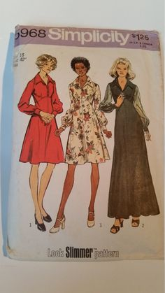 Vintage 1973 Simplicity sewing pattern 5968 Misses' and