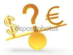 Signos de dólar y Euro en una balanza. Un signo de interrogación en medio.