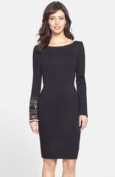 Farb-und Stilberatung mit www.farben-reich.com - Cynthia Rowley Embellished Sleeve Open Back Scuba Sheath Dress