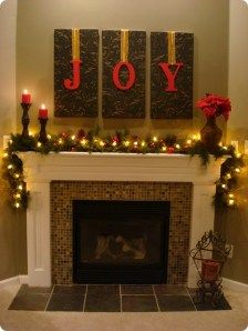 55 Amazing Christmas Fireplace Mantel Decoration Ideas - About-Ruth Merry Little Christmas, Christmas Love, All Things Christmas, Winter Christmas, Christmas Letters, Christmas Ideas, Elegant Christmas, Christmas Fabric, Christmas Lights