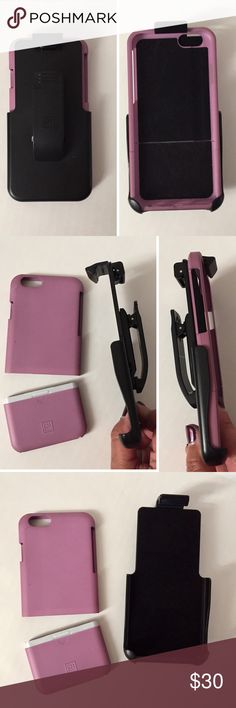 IPhone 6 Clip-on Case A very functional case yet still pretty enough to wear with anything. A light purple two piece hard shell case that can be used alone, or put it into this tight black holder that can clip to anything. You can even still talk on your phone while it's in the holder. It can lay vertically or horizontally. Black velvety interior. Protective and cute! Accessories Phone Cases