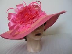 Pink+Orange+Flower+Kentucky+Derby+Church+Wedding+Wide+Brim+Stripe+Floppy+Hat