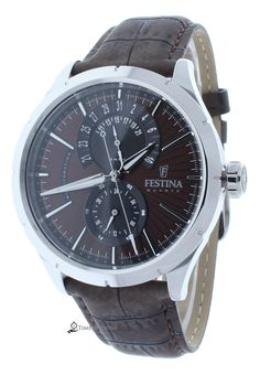 Festina F16573/6 Men's Brown Leather Strap Watch Brown Dial 24-Hour Subdial Display