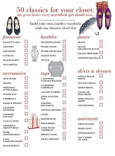 list of basics for the classic dorm closet. More dresses for sorority formal (s). Always helpful for college