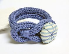 Periwinkle violet knitted cotton bracelet handmade by ylleanna, Bracelet Crochet, Crochet Rings, Crochet Rope, Knit Crochet, Textile Jewelry, Fabric Jewelry, Jewellery, Spool Knitting, Knitting Patterns