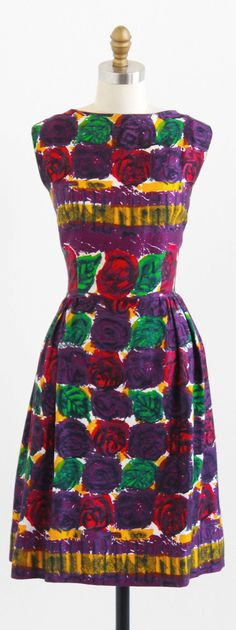 vintage 1960s vibrant painted abstracts print silk blend dress | http://www.rococovintage.com