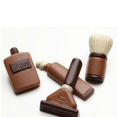 Chocolats Rasage : une boite de chocolat insolite avec rasoir, blaireau, mousse à raser et aftershave en chocolat !