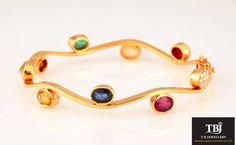 The Navarathnas dancing on your wrist. Bridal Jewelry, Jewelery, Silver Jewelry, Plain Gold Bangles, Small Rings, Jewelry Patterns, Antique Jewelry, Bangle Bracelets, Jewelry Design