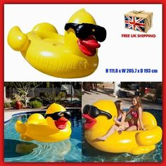 Inflatable Swimming Pool Toys Ride On Kids Large Duck Sea Summer Floats Pump Fun
