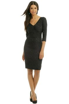 Vera Wang Midnight Metallic Weave Dress