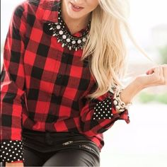 Plaid red black button up shirt polkadot winter Soft button up in xs s or m. Ships immediately photo credit: @brittniwillie Tops Button Down Shirts