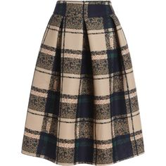 SheIn(sheinside) Khaki Vintage Plaid Midi Skirt (395 MXN) ❤ liked on Polyvore featuring skirts, bottoms, faldas, midi skirts, khaki, knee high skirts, khaki skirt, calf length skirts, tartan plaid skirt and plaid skirt