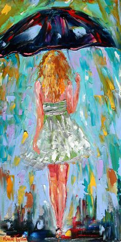 Fine art Print - Rain Dance Four - from oil painting by Karen Tarlton impressionistic palette knife fine art. $38.00, via Etsy.