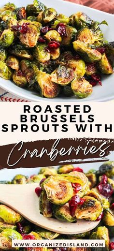 This delicious Brussels sprouts with cranberries recipe only requires a handful of ingredients to make. This Brussels sprouts and cranberries combination is super easy to make and a must-have for fall dinners and holiday parties! Easy Potato Recipes, Easy Appetizer Recipes, Delicious Dinner Recipes, Lunch Recipes, Vegetable Recipes, Seafood Recipes, Healthy Recipes, Healthy Side Dishes, Side Dishes Easy