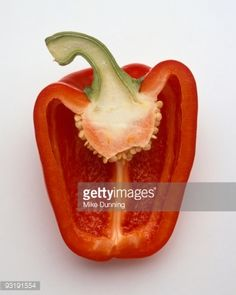Stock Photo : Red bell pepper half