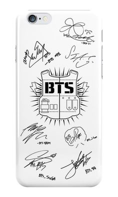 BTS Signatures White phone case