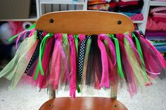 ribbons, tulle, fabric tutu.  heat set ribbon ends, pinking shears for fabric, how to tie