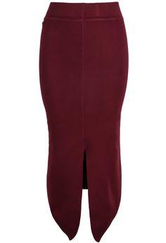 Red Split Bodycon High Low Skirt 15.83
