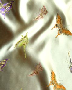 "45"" Chinese Brocade Fabric, Butterflies Beige - by the yard"
