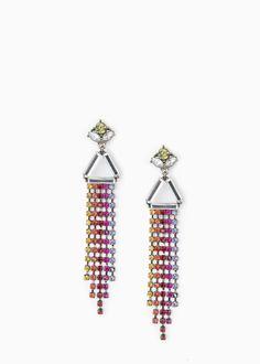 Earrings with strass pendants, bell fastening. Pendant Earrings, Women's Earrings, Mango Clothing, Jewelery, Pendants, Rainbow, Accessories, Usa, Rhinestones