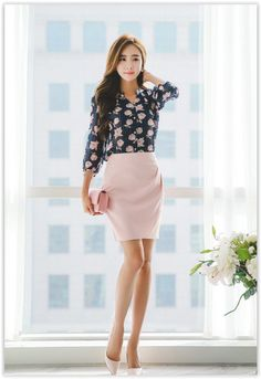 All Korean Fashion items up to OFF! Office Fashion, Business Fashion, Work Fashion, Asian Fashion, Fashion Beauty, Womens Fashion, Business Attire, Pencil Skirt Outfits, Power Dressing