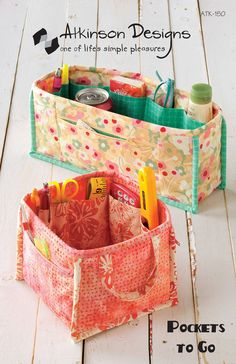 Pockets To Go- Printed Sewing Pattern- Pocket Organizers. $9.00, via Etsy.