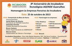8º Aniversário da Incubadora Tecnológica AGENDE Guarulhos. Participe!