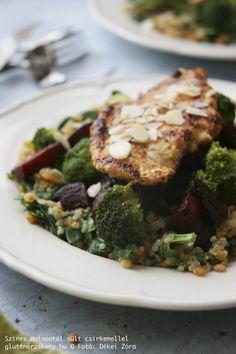Színes quinoatál gluténmentes egytálétel Paleo, Pork, Meat, Kale Stir Fry, Beach Wrap, Pork Chops, Paleo Food