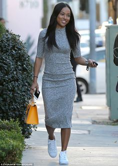 Women's Daily Casual Street chic Sheath Dress, Solid Turtleneck Maxi Long Sleeve Cotton /summer outfit/dress bodycon dress casual/bodycon/bodycon dress with sneakers/fashionbogger Midi Dress Outfit, Casual Dress Outfits, The Dress, Fashion Outfits, Dress Fashion, Gray Dress, Overalls Outfit, Sweater Fashion, Girl Fashion