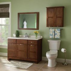 Glacier Bay Casual 48 in. W x 21 in. H Bathroom Vanity Cabinet Only in Cognac - The Home Depot Green Bathroom Colors, Bathroom Paint Colors, Green Kitchen Walls, Upstairs Bathrooms, Master Bathroom, Bathroom Renos, Bathroom Ideas, Bathroom Goals, Brown Cabinets