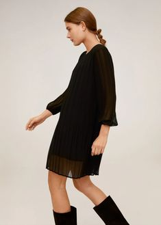 Pleated short dress - Woman | Mango South Africa Mango, Pleated Shorts, Short Dresses, Cold Shoulder Dress, High Neck Dress, Casual, South Africa, Book, Products