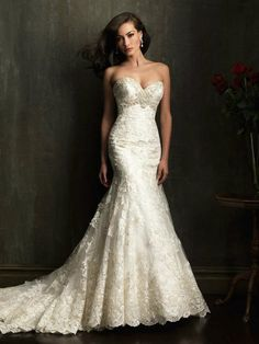 New Sexy White/Ivory Sweetheart Wedding Dresses Mermaid lace Bridal Gown*Custom