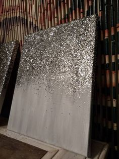 Abstract Glitter Painting Custom - Modern Chic Home Decor - Silver and Gray decor diy - home decor d Glitter Canvas, Glitter Paint, Diy Canvas, Silver Glitter, Glitter Gif, Glitter Heels, Diy Wall Art, Diy Art, Diy Home Decor