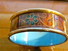 Mid Century KLOISON Fine Crafted Cloisonne Wide Bangle Cuff Bracelet ~ Artisan Signed Jewelry
