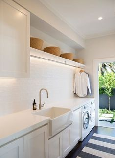 laundry room design, white laundry room with laundry room storage, laundry room organization with neutral floor tile, neutral mudroom design with laundry and folding counter and laundry sink Room Makeover, House Numbers, Room Design, Laundry Mud Room, Home, Perfect Laundry Room, Room Inspiration, Room Remodeling, Room Storage Diy