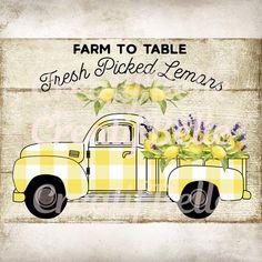 Farm Trucks, Old Trucks, Diesel Trucks, Lifted Trucks, Lemon Crafts, Truck Crafts, Lemon Kitchen Decor, Kitchen Ideas, Farm Signs