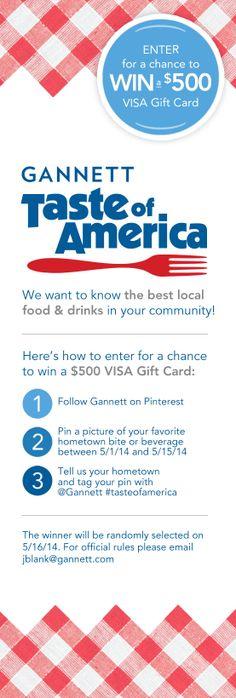 Enter Gannett's Taste of America Pinterest Contest for a chance to win a $500 gift card! @Gannett #tasteofamerica