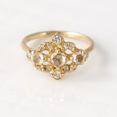 Rose Cut White Diamond Engagement Ring in Solid 14k Yellow Gold by Melanie Casey Jewelry